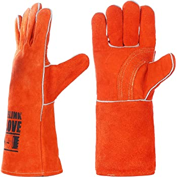QeeLink Welding Gloves - Heat & Wear Resistant Lined Leather and Fireproof Stitching - For Welders/Fireplace/BBQ/Gardening