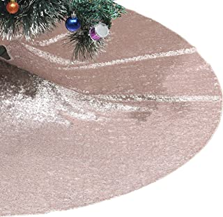 Poise3EHome Tree Skirt, 48 inches Champagne Sequin Christmas Tree Skirt