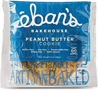 Eban's Bakehouse Gluten-Free Peanut Butter Cookies - Preservative Free, Non-GMO Snacks (12 Cookies, Individually Wrapped) (2 oz Per Cookie)