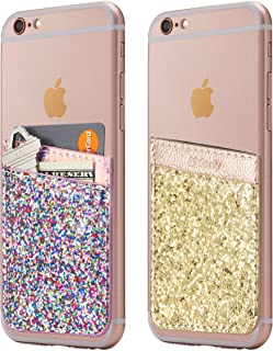 (Two) Cell Phone Stick On Wallet Card Holder Phone Pocket for iPhone, Android and All Smartphones. (Pink&Gold Glitter)
