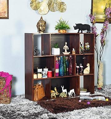 EBANSAL Wooden Showcase for Living Room   Open Organiser with 9 Shelf   Sheesham Wood, Brown Finish