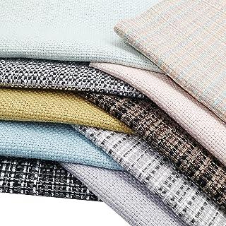 ZAIONE 10pcs/Set Needlework Cotton Faux Fabric Sheets 8'' x 12'' A4 Mixed Bundle Linen Woven Fabric for Earring Bows Shoes...