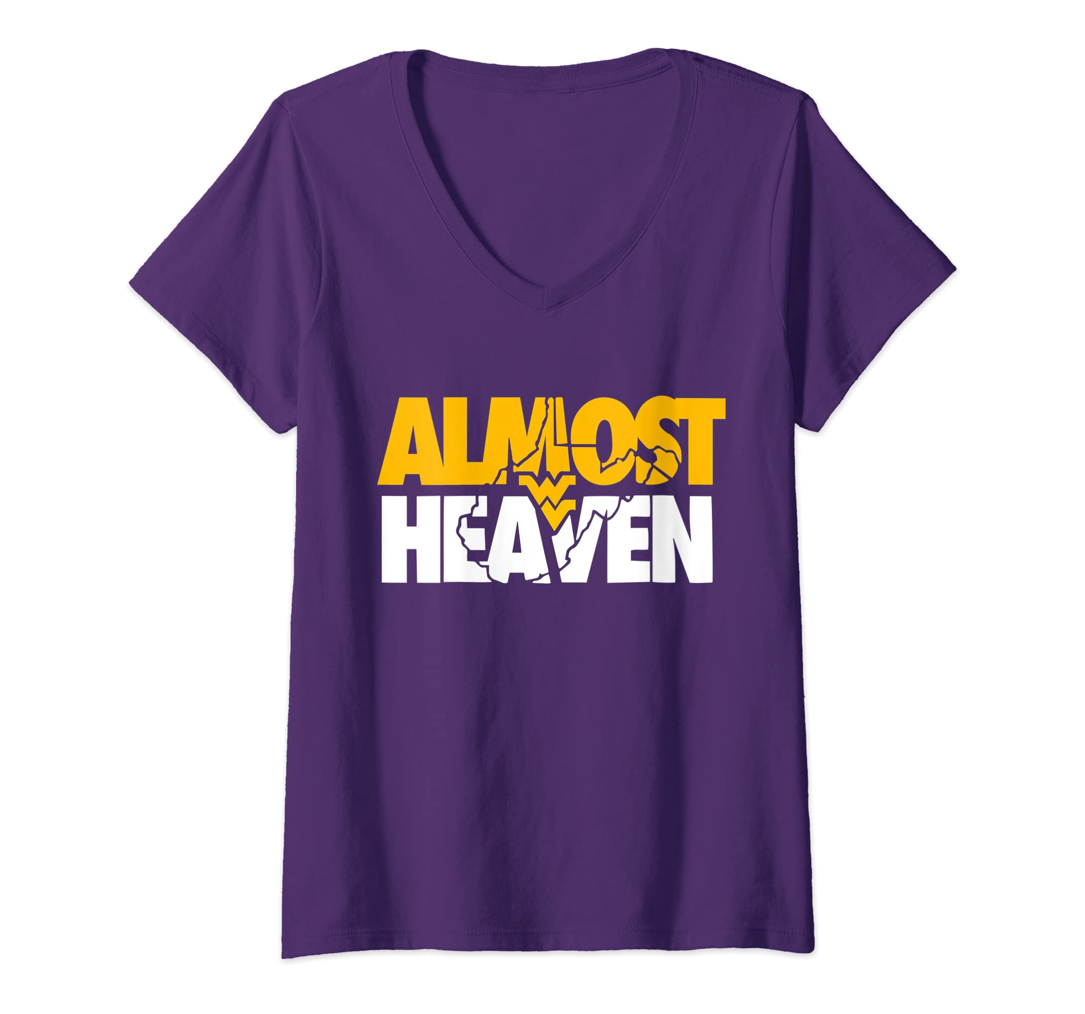 cce34a89fa32d Amazon.com: Womens Almost Heaven West Virginia V-Neck T-Shirt: Clothing