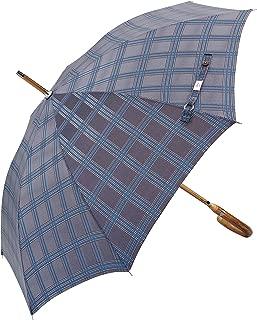(Designed in Britain Prestige Walking Stick Umbrella—Luxury Chestnut Wood Crook Handle—Bamboo Shaft—Windproof Fiberglass Frame—Auto Open 300T Finest Fabric