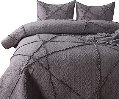 PERYOUN Unique Crisscross Design Bed Cover Bed Cover Gray 3-Layer Hand-Made, Comfortable Touch Bed Cover-3 Piece Large Quilt Cover, Suitable for All Seasons, Suitable for All Home Decoration