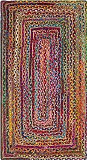 "Safavieh Cape Cod Collection CAP202A Handmade Boho Braided Jute & Cotton Accent Rug, 2'3"" x 4', Red / Multi"