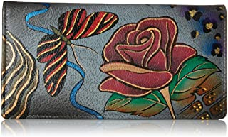 Women's Handpainted Leather Ladies Wallet Snap Button Closure