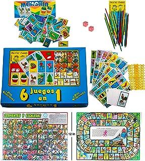6 Games in 1 Box Serpientes y Escaleras, Juego de la Oca, Memoria, Naipes Gacela Loteria Tradicional Mexicana, Palillos Chinos, Damas Inglesas, Incluye Dados y 80 Fichas (6 Games in 1 Box)