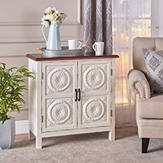 Aliana Farmhouse Distressed Firwood Cabinet with Carved Panels, White and Brown