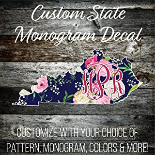 IAWOAVinyl Custom Kentucky Monogrammed Decal - 6 inch Wide (LP267CD6KY) Preppy Patterned Vinyl - Outdoor Rated Cute Custom Decal - Top Quality