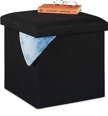 Relaxdays Pouf de Rangement, Pliable, Rembourrage Moelleux, carré, Tissu, Tabouret 37x37,5x37,5 cm, Noir, 1 élément