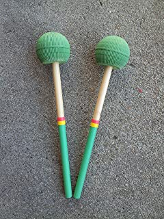 KaKesa Steel Drum Pan Mallets Sticks Wood Rasta - 6Bass
