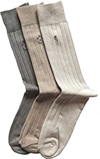 جوارب Polo Ralph Lauren الرجالية 3 أزواج (6-12 1/2) (10-13، كاكي مضلع