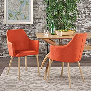 Christopher Knight Home Zeila Mid Century Modern Dining Chair With Wood Finished Metal Legs (Set of 2), Muted Orange/Light Brown