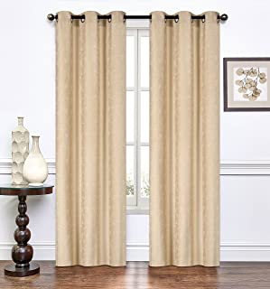 RT Designers Collection, Gold Paradise Jacquard 76 x 84 in. Grommet Curtain Panel Pair, (Set of 2)