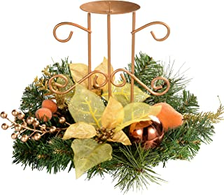 WeRChristmas Copper & Gold Table Centre Piece with Single Pillar Candle Holder Christmas Decoration-Size 22cm