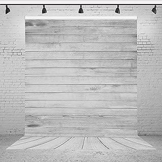 Riyidecor Grey Wood Floor Backdrop Rustic Barn Vintage Wooden Wall Stripes 5Wx7H Feet Photography Background Baby Artistic Birthday Party Photo Studio Shoot Backdrop Vinyl Cloth