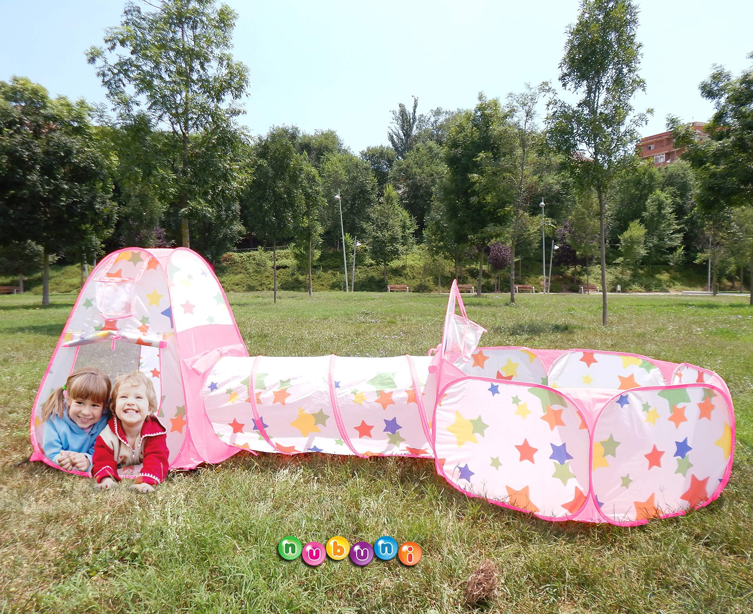 NUBUNI 3 en 1 Tienda Campaña Infantil : Piscina de Bolas + Casita Infantil + Tunel de Juego : Plegable Parque Bebe Bolas Infantil Jardín Exterior Interior Juguetes Niños Niñas Bebes Casitas
