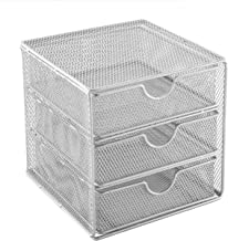 OSCO SM3DS-SLV Small Wire Mesh 3 Drawer Chest - Silver