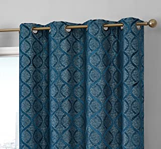 HLC.ME Lattice Flocked 100% Complete Blackout Thermal Insulated Window Curtain Grommet Panels - Energy Savings & Soundproof - Great for Living Room & Bedroom, Set of 2 (50 x 63 inches Long, Teal Blue)