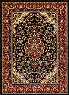 Well Woven Barclay Medallion Kashan Black Traditional Area Rug 3`11`` X 5`3``