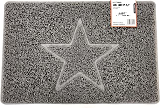 Estrella Felpudo Logotipo en Relieve Rizos de Vinilo Entrada Bienvenido Lavable Exteriores Interiores Alfombra 【60x40cm,Pequeño,Gris 】