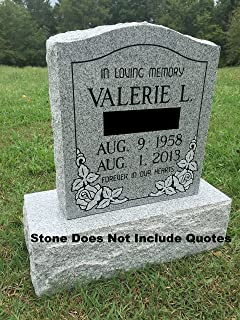 Upstate Stone Works Granite Memorial Headstone Die and Base (5 Designs)