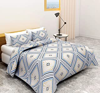 BSB Trendz- Sanmarino 152 TC 100% Cotton for Double Bed Geometric Printed Bedsheet with 2 Pillow Covers, Silver
