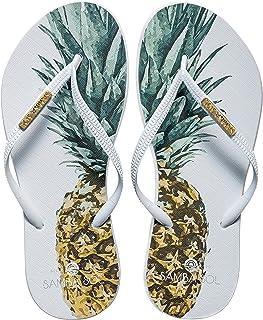 Women's Fashion Collection Flip Flops - Pineapple White Strap