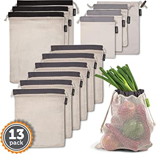 12+1 Premium Quality Reusable Mesh and Muslin Bags – High-Grade Organic Cotton – 100% Biodegradable and Lightweight – Value pack of 13 Bags of 4 Sizes – Durable and Strong – Machine Washable – Grey