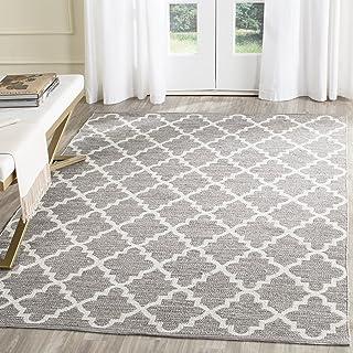 "Safavieh Montauk Collection MTK810A Handmade Trellis Cotton Accent Rug, 2'3"" x 3'9"", Grey / Ivory"