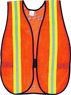 سترة السلامة متعددة الأغراض الشبكية من البوليستر من MCR Safety V201R مع شريط عاكس ليموني/فضي، برتقالي فاتح 5.08 سم