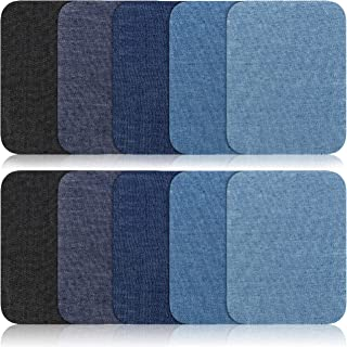 Iron On Patches - 15Pcs Denim Patches for Clothing - 5 Colors - 100% Cotton - Easy to Apply - Practical & Versatile - Ideal for Repairing, Decorating, Reinforcing (4.9- inch-by-3.7-inch)