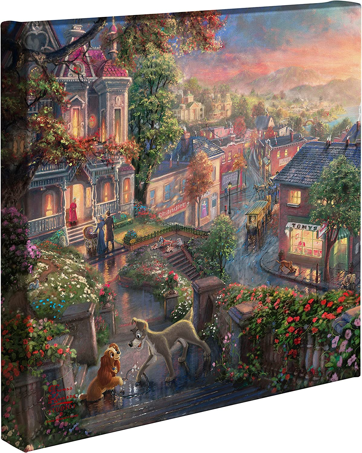 Thomas Kinkade - Gallery Wrapped Canvas , Lady and the Tramp , 14  x 14  , 61338