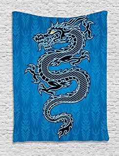 Ambesonne Japanese Dragon Tapestry, Black Dragon on Blue Tribal Background Year of The Dragon Themed Art, Wall Hanging for Bedroom Living Room Dorm Decor, 40