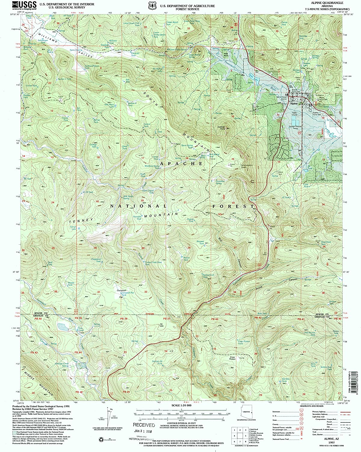 Alpine AZ topo map, 1 24000 Scale, 7.5 X 7.5 Minute, Historical, 1997, Updated 2000, 26.7 x 21.6 in