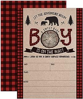 Lumberjack Baby Shower Invitations, Boy Baby Shower Invitations, Mama Bear Baby Shower Invites, Woodland Baby Shower Invitations, 20 Fill in Invitations and Envelopes