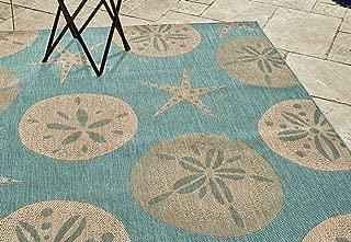 Gertmenian 21268 Nautical Tropical Outdoor Patio Rugs, 5x7 Standard, Starfish Green