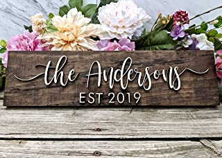 Personalized Family Name Sign. Custom Wood Sign. Personalized Wedding Gift. Personalized Sign. Last Name Sign Established ...