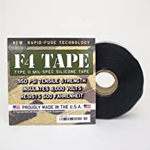 "F4 Tape | Self-Fusing Silicone Tape | Emergency Pipe & Plumbing Repair | Seal Radiator Hose Leaks | Wrap Electrical Wires | Military Standard | MIL SPEC | 1"" X 36' 