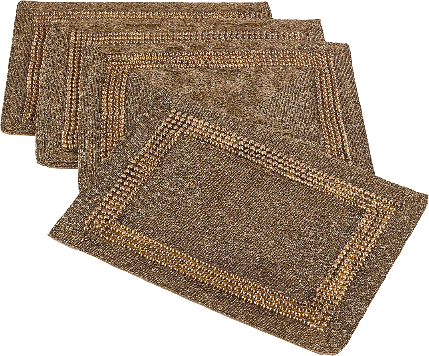 SARO LIFESTYLE 3270.BZ1318B Beaded Design Placemat, Bronze, 13 x19  (Set of 4 pcs)