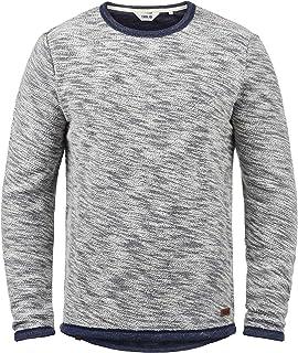 Solid Flocks Men's Sweatshirt Pullover Flock Sweater with Crew Neck 100% Cotton