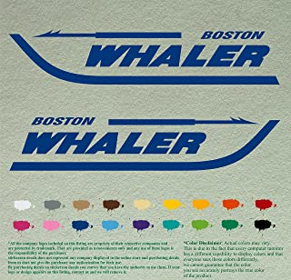 """Pair 12"""" BOSTON WHALER DecalsBlue Vinyl Stickers Boat Outboard Motor lot of 2"""