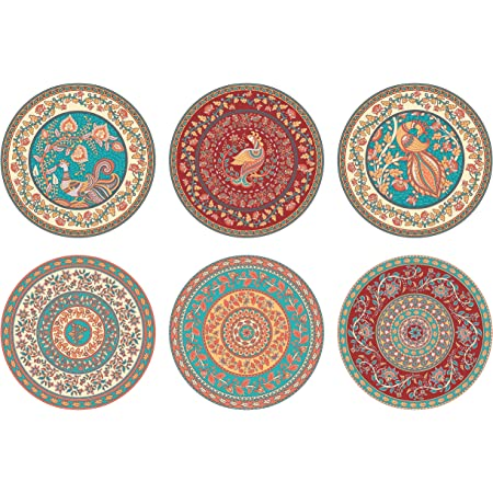 "Real Art Wall Hanging Fine Bone China Plates 7"" - 6 pcs Set Gift Packing Aaramkari Art Designs"