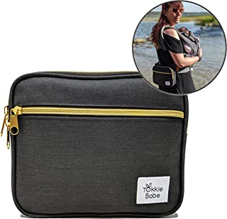 TOKKIE BABE Baby Carrier Extension Storage Pouch - Fit All Essentials for Diapers, Changing Pad, Wipes, Pacifiers, Smart Phones and Wallets Compatible with Ergobaby, Lillebaby, Tula and more