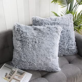 Uhomy Home Decorative Luxury Series Super Soft Style Artificial Fur Throw Pillow Case..