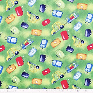 Airplane Fabric Ready for Take Off Luggage in Green from Wilmington 100% Cotton Fabric by The Yard