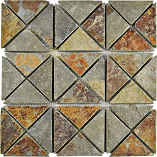 SomerTile SCRTSSS Cliff TriSquare Sunset Slate Natural Stone Mosaic Floor and Wall Tile, 12