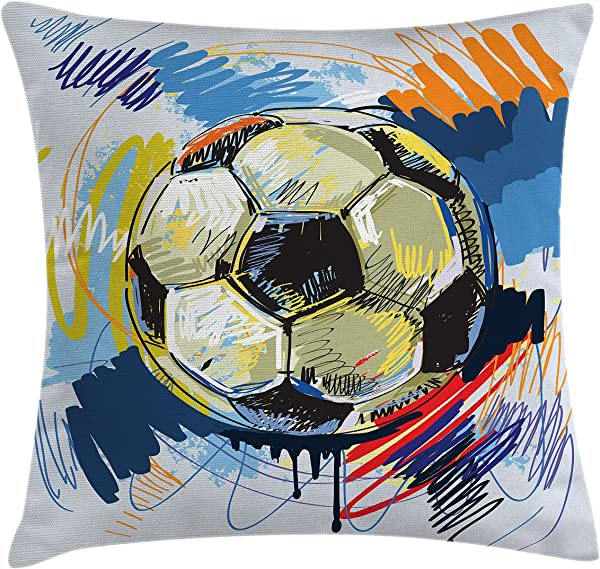 Ambesonne Soccer Throw Pillow Cushion Cover Spherical Soccer Ball Illustration With Colorful Distressed Details In Motion Art Decorative Square Accent Pillow Case 18 X 18 Grey Pink