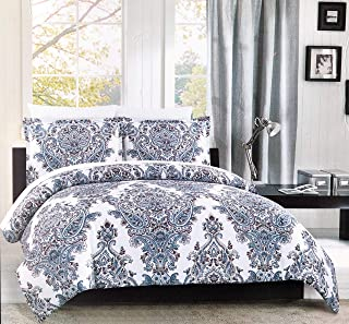 Cynthia Rowley Bedding 3 Piece Full/Queen Size Duvet Comforter Cover Set Intricate Floral Paisley Medallion Pattern in Shades of Blue and Red on White